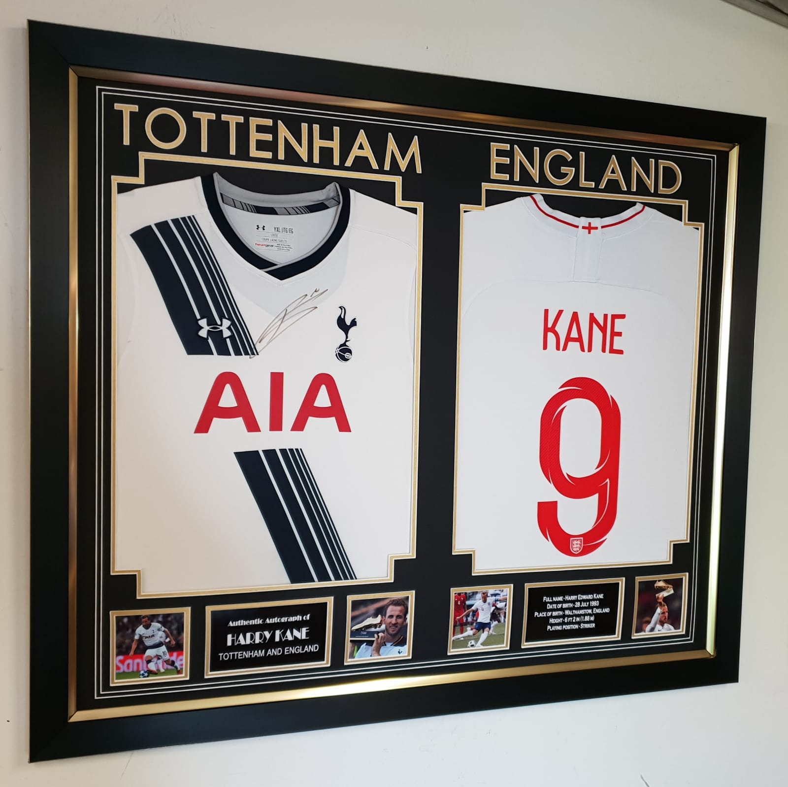 online store 91395 6a948 Harry Kane signed Tottenham Hotspur Shirt and Framed with Kane England  Shirt.