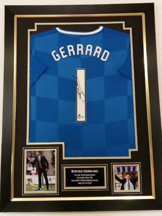 Steven Gerrard Signed Rangers Shirt Framed