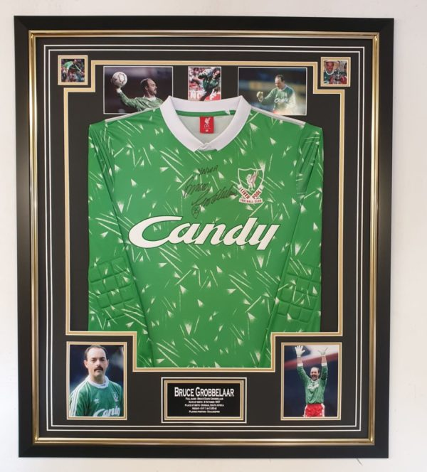 BRUCE GROBBELAAR SIGNED LIVERPOOL SHIRT IN QUALITY FRAME WITH PHOTO MONTAGE